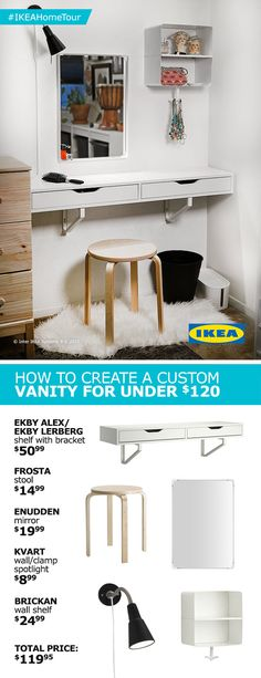Create a custom vanity for under 120 with tips and ideas from the IKEA Home Tour Squad Not only does it save space but it looks great too Ikea Dressing Table, Bedroom Desk Organization, Ikea Home, Bedroom Diy, Small Space Bedroom, Ikea Home Tour, Desk Organization Ikea, Ikea Bedroom, Ikea Small Bedroom