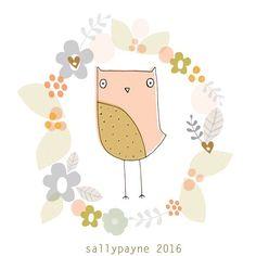 Evening owl #owls #illustration #frame by sallypayne_design