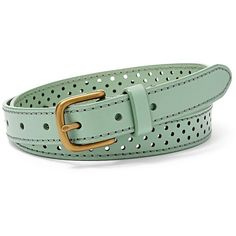 Fossil Dotted Perforated Belt Bt4318116l Color: Seaglass ($36) ❤ liked on Polyvore featuring accessories, belts, 100 leather belt, genuine leather belt, leather belt, perforated leather belt and fossil belts