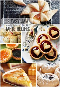 12 easy jam tarts recipes with different flavours, some homemade. A little sweet tea time treat. Enjoy Advertisement - Continue below // Traditional-jam-tarts Raspberry-lime-buttermilk-breakfast-tart British jam t. Easy Strawberry Tart Recipe, Strawberry Jam Tarts, Jam Thumbprint Cookies, Jam Cookies, Banana Bread Cake, Italian Biscuits, Coconut Tart, Bakewell Tart, Mini Tart