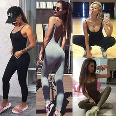 a12be384f854 Casual Women Skinny Fitness Leggings Pants Sleeveless O-Neck Jumpsuit  Clothes with 3 Colors Summer