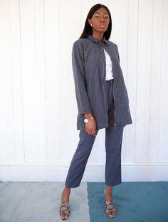 Grey Blue Pinstripe Collared Lonsleeve Jacket with Pockets Grey Pinstripe Suit, Matching Set, Baby Blue, Blue Grey, Collars, Charcoal, Suit Jacket, Normcore, Menswear