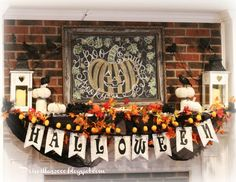 The mantel is all ready for Christmas! I used the same chalkboard frame I used for the Halloween mantel .after I drew th. Pretty Halloween, Halloween 2016, Halloween Mantel, Framed Chalkboard, Christmas Mantels, Fireplace Mantle, Trick Or Treat, Fall Decor, Stockings