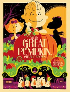 Snoopy/Charlie Brown poster Illustrations by Tom Whalen Retro Halloween, Films D' Halloween, Holidays Halloween, Halloween Crafts, Happy Halloween, Halloween Decorations, Peanuts Halloween, Halloween Poster, Scary Halloween