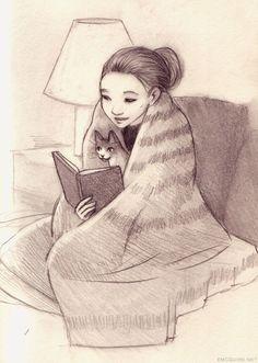 lectores con gatos... un clasico.