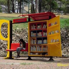 Library bus stop, sweet idea!!