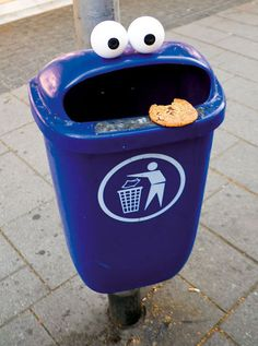 Part of his series of turning everyday objects anthropomorphic, German artist Timm Schneider created an urban Cookie Monster.