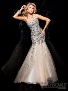 04b3cd079f5 Tony Bowls 2013 Gold Strapless Long Mermaid Gown with Sequins Stones and  Crystals 113720