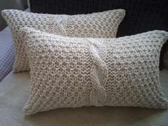 Cortinas Crochet Hasta 140 M X Hasta en Mercado Libre Argentina Knitted Cushion Covers, Knitted Cushions, Throw Cushions, Knitted Blankets, Knitting Projects, Knitting Patterns, Crochet Patterns, Crochet Home Decor, Knit Pillow