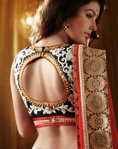 Choose Pot Neck Blouse Designs for your Saree Blouse Neck Pattern. Make your saree look more enhanced and glamorous with these different blouse designs. Blouse Back Neck Designs, Best Blouse Designs, Silk Saree Blouse Designs, Bridal Blouse Designs, Floral Blouse, Sari Design, Design Floral, Choli Designs, Lehenga Designs
