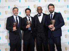 George Clooney, Grant Heslov, Samuel L Jackson and Ben Affleck in the press room at the 2013 British Academy Film Awards - quite a line-up. They were all there to celebrate the triumph of Argo, named best picture. George Clooney, Javier Bardem, Jessica Chastain, Ben Affleck, Jackson, British Academy Film Awards, Hooray For Hollywood, Director, Lineup
