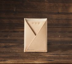 Leather Minimalist Wallet  folded card wallet handmade #Natural Nude  by ES Corner www.es-corner.com