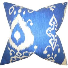 Update your furniture when you add this stylish throw pillow. A bright blue background makes the white pattern pop for a stunning effect. A zipper closure makes it easy to wash the casing. Plush feathers make this pillow comfortable to lean against.