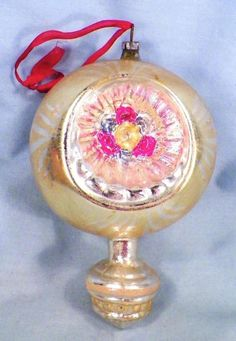 Indent Christmas Ornament Mercury Glass Gold Silver Pink Blue 5in Vintage 15 LG | eBay