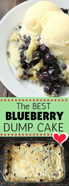 The BEST Blueberry Dump Cake recipe! How to make a dump cake with fresh or frozen blueberries, a cake mix, buttermilk, and a little orange. Like a dump cake cobbler but so EASY! #Blueberry #Cake