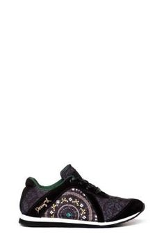 Desigual women's Luah sneakers. A very romantic trainer with nylon uppers and an encrusted beaded-effect print.