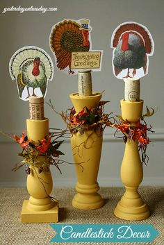 Candlestick Decor: Thanksgiving Decor Ideas with supplies from @Ben Franklin Crafts and Frames #thanksgivingcrafts #thanksgivingtable #yesterdayontuesday
