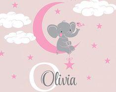 Elefante nombre personalizado personalizado inicial Wall Decal Sticker para el vivero, de niña habitación o sala de juegos, guardería monograma