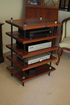 Resultado de imagen de Hi-Fi Audio Racks - Gerd - Hifi Stand, Audio Stand, Speaker Stands, Hifi Rack, Audio Rack, Diy Pallet Furniture, Pipe Furniture, Furniture Design, Rack Design