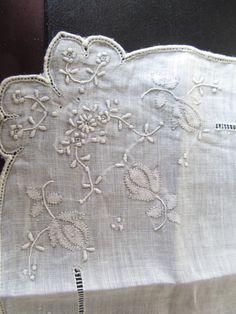 Detail, embroidered linen handkerchief.