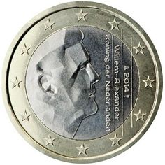 1 Euro (Series 2) - The Motif for all coins is the same - the head of the reigning monarch Queen Beatrix until 2013 and then King Willem Alexander.  Is is customary in the Netherlands to alter the direction in which the Monarch is looking whenever a new Monarch mounts the throne - so while Beatrix was looking towards the left, Willem Alexander is looking towards the right. Please go to my Site to learn more about this coin as well as other interesting facts relating to Euro Coins.