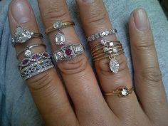 reader Izzy and her collection of pretty diamond rings with lots of dangles