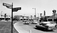 A view looking northeast along the merging right-turn lanes from Zelzah Avenue to Chatsworth Street (ca. The building with a slanted sign at left on the north side of the street at 17833 Chatsworth still stands, with the sign intact. California History, Vintage California, Old Pictures, Old Photos, Vintage Photos, Iconic Photos, Granada Hills, Southern California