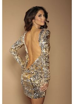 Classic Backless Dress Silver/Gold  flip Sequins