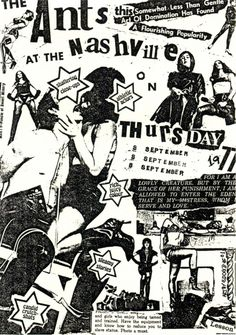 Flyer promoting a gig by Adam and the Ants, UK, Design: Adam Ant. Source: The Art of Punk Gig Poster, Punk Poster, Concert Posters, Posters Diy, Rock Posters, Band Posters, Music Posters, Poster Ideas, Punk Art