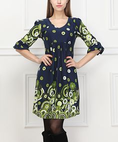 Loving this Navy Abstract Daisy Ruffle-Sleeve Dress on #zulily! #zulilyfinds