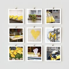 Paris Photo Collection - 5x5 Yellow | what a cute way to hang your pictures and I love all the yellow