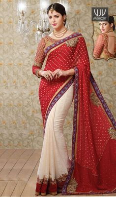Masterly Red Color And Embroidered Work Designer Saree Elegance and honourable come together in this beautiful drape. Be an angel and create and ascertain a smashing influence on anyone by wearing this red georgette designer saree. This gorgeous dress is displaying some brilliant embroidery done with patch border and embroidered work. Comes with matching blouse.