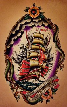 Discover the meaning behind Sailor Jerry's famous old school tattoos, from dragon tattoos to classic skull tattoo designs. Visit our Website for Traditional Flash, Neo Traditional Tattoo, American Traditional, Desenhos Old School, Backpiece Tattoo, Old School Tattoo Designs, Sailor Jerry, Deep Blue Sea, Body Art Tattoos