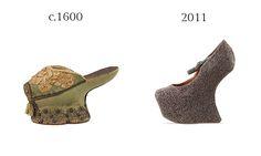 """Sapatos """"Chopines"""" que influenciam de certa forma o calçado contemporâneo. Estes sapatos eram utilizados pelas senhoras desde o século XV até ao século XVII. Foram concebidos devido ás cheias/inundações na Praça de S.Marcos, e atingiam alturas, por vezes exageradas, em que era necessária a ajuda por parte dos servos que acompanhavam as damas nas suas deslocações. Era símbolo de prestígio e estatuto social."""