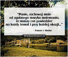Panie, zachowaj mnie od zgubnego nawyku mniemania... #Tomasz-Z-Akwinu,  #Bóg-i-wiara Motto, My Way, I Hope You, Best Quotes, Language, Mindfulness, Faith, Let It Be, Thoughts