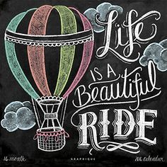 "This whimsical ""Life Is A Beautiful Ride"" Print features hot air balloon and fluffy cloud illustrations. ♥ Our fine art chalkboard prints will bring the rustic Chalkboard Art Quotes, Blackboard Art, Chalkboard Drawings, Chalkboard Lettering, Chalkboard Designs, School Chalkboard Art, Summer Chalkboard Art, Chalkboard Print, Chalk Wall"