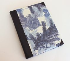 Large Leather Journal - Blue Garden by GatzBcn on Etsy