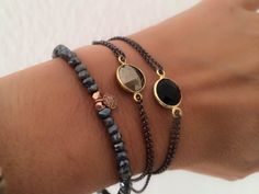 Labradorite and Tiny diamond Disc Bracelet