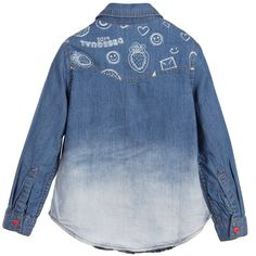 Girls denim shirt by Desigual. Made in soft cotton denim with an ombre effect, it has a pointed collar with red, front popper fastenings and a chest pocket. The front features a fun doodle pattern with a smiley face and heart shaped appliqué.