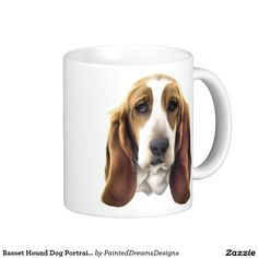 Basset Hound Dog Portrait Print Coffee Mug