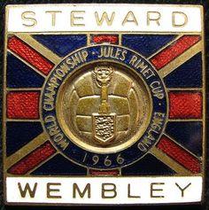 Football - 1966 World Championship Jules Rimet Cup 1966 Wembley Stewards enamelled pin badge. 1966 World Cup, Laws Of The Game, Soccer Art, Association Football, Most Popular Sports, England Football, Retro Football, World Cup Final, Corinthian
