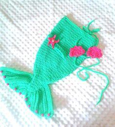 Newborn crocheted mermaid outfit baby mermaid by Knerdy4Knitting, $30.00