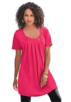 3a06a464625 Roamans Women's Plus Size Pleat Neck Trapeze Max Tunic * To view further  for this item