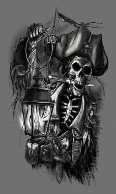 Pirate Tattoo Designs And Ideas Pirate Skull Tattoos, Pirate Ship Tattoos, Pirate Tattoo Sleeve, Tattoo Sketches, Tattoo Drawings, Body Art Tattoos, Gun Tattoos, Ankle Tattoos, Arrow Tattoos