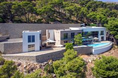 The architecture of a modern mansion on the cliffs of Mallorca