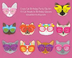 Crazy Cat Birthday Clip Art - digital kitty cats clipart in birthday glasses, printable pet graphics and jpg collage sheet. Perfect for DIY pet lover parties, or, parties for your kitty! #catclipart #birthdaycats #birthdayclipart #diybirthdayparty #catswearingglasses #birthdaykitty #kittycats
