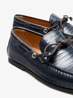 614df9ddba86c MOCASSIN GRAVÉ CUIR BLEU pour HOMMES - Chaussures - Tout voir de Massimo  Dutti pour la