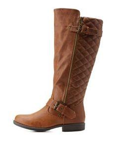 Quilted Round Toe Riding Boots #CharlotteLook | pinterest : @tileeeeyahx3 ☼