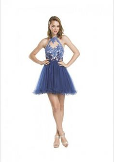 Cheap and Australia 2016 A-line Halter Neckline Beaded Appliques Organza Mini Length Homecoming/ Evening Dress/ Prom Dresses CS1384 from Dresses4Australia.com.au