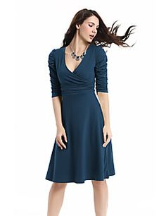 Women's Plus Size Work Cotton A Line Swing Dress - Solid Colored Flower  High Rise Deep V